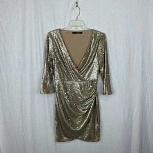 Lulu's Light Champagne Gold Sequin Cocktail Dress